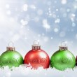 Red and Green ornaments — Stock Photo