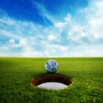 bola de golfe de terra — Foto Stock