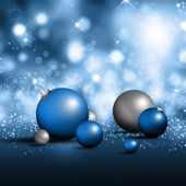 Blue and silver christmas ornaments — Stock Photo