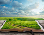 A pathway towards the cross on an open book — Stock Photo