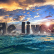 """He lives"" at sea abstract 3d text design — Stock Photo"