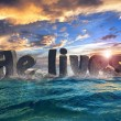 He lives at sea abstract 3d text design — Stock Photo