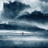 Huge Tidal wave with man — Stock Photo