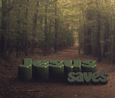 "Large letters ""Jesus saves"" in the woods — Stock Photo"