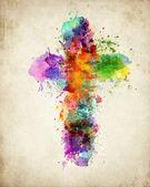 Cruz abstrato colorido — Foto Stock
