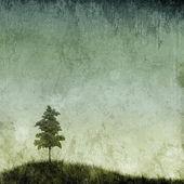 Grunge 树草山 — 图库照片