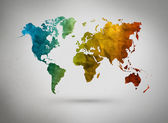 3D Continent map separated by color — Stock Photo