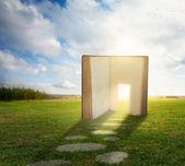 Open Book with doorway — Stock Photo
