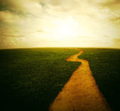 Dirt pathway to the sunset — Stock Photo