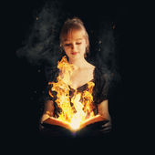 Woman with fire Bible — Stock Photo