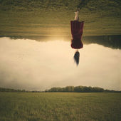Walking upside down — Stock Photo