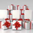 Stock Photo: Gift boxes with blank cards