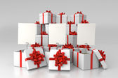 Gift boxes with blank cards — Stock Photo