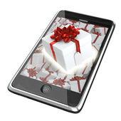 Caja de regalo, saliendo de la pantalla del teléfono inteligente — Foto de Stock
