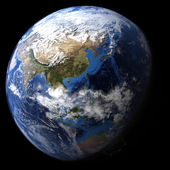 Rendered three dimensional earth — Stock Photo