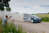 Rally car race in 71st Rally poland in Mikolajki - Poland — Foto de Stock