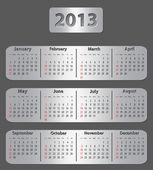 Grigio calendario per l'anno 2013 — Vettoriale Stock