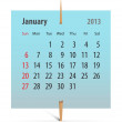 Stock Vector: Calendar for January 2013