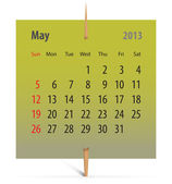 Calendar for May 2013 — Stock Vector