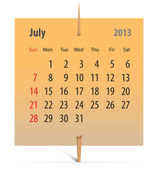 Calendar for July 2013 — Stock Vector