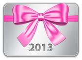 2013 card with pink bow — Stock Vector