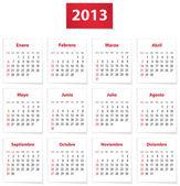 Spanish calendar for 2013 — Stock Vector