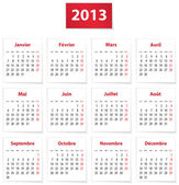 2013 French calendar — Stock Vector