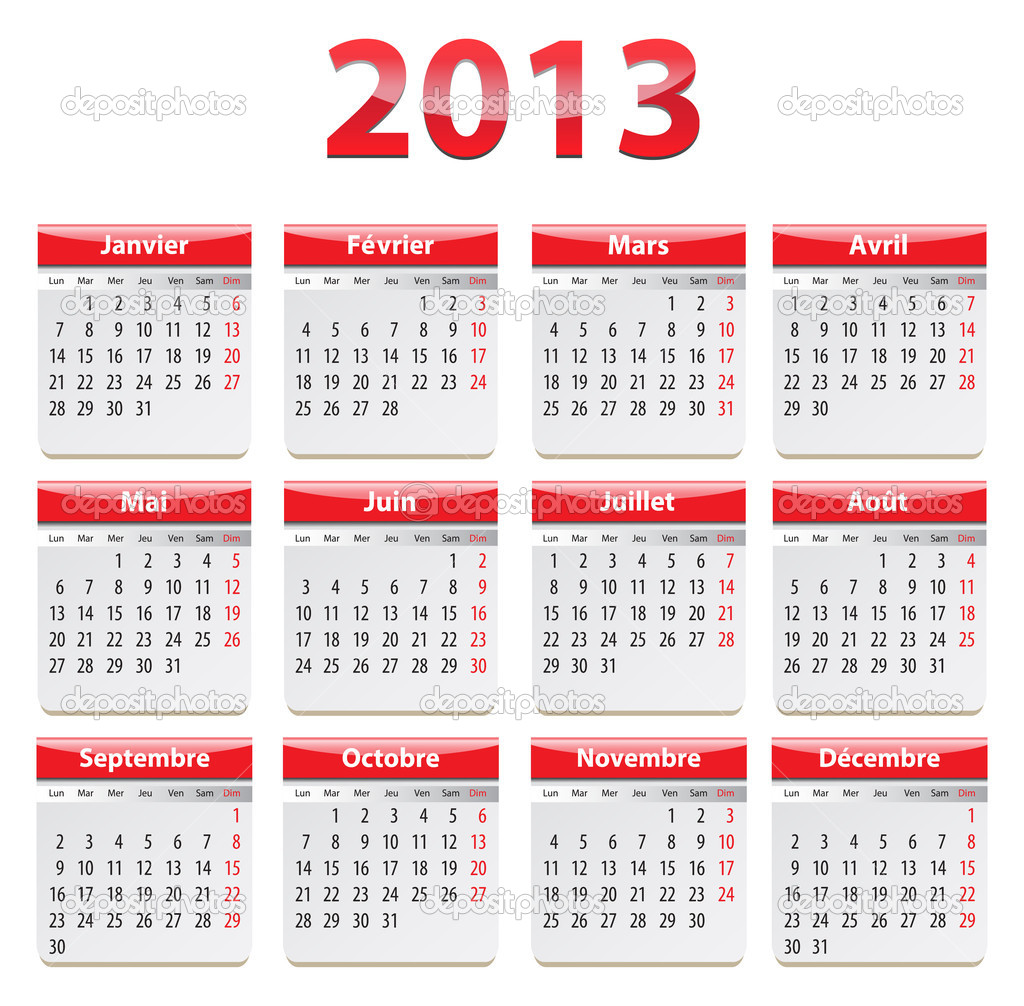 Calendar for 2013 year in French. Vector illustration — Stock Vector #16952003