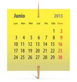 Calendar for June 2013 in Spanish — Stock Vector