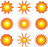 Set of suns — Stock Vector
