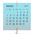 Stock Vector: Calendar for January 2014