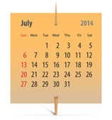 Calendar for July 2014 — Stock Vector