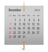 Calendar for December 2014 — Stock Vector