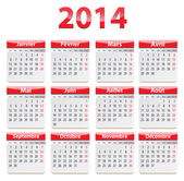 2014 French calendar — Stock Vector