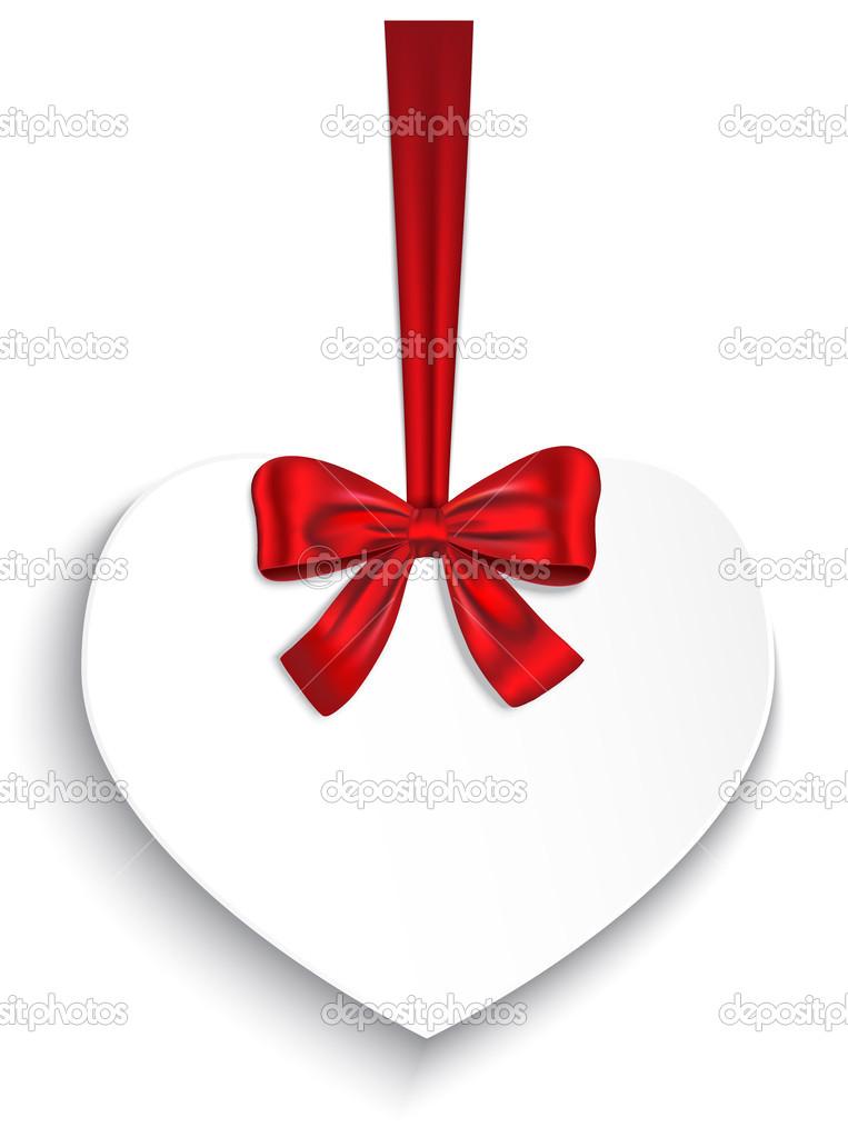 情人节心系带着弓和红丝带.矢量图–