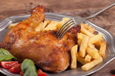 Roasted chicken leg. — Stock Photo