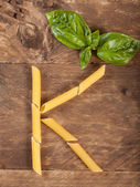 The letter K with pasta — Foto de Stock