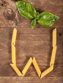 The letter W with pasta — Foto de Stock