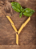 The letter Y with pasta — Foto de Stock