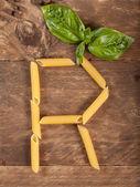The letter R with pasta — Foto de Stock