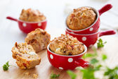 Ham, cheese and tomato muffins — Stok fotoğraf