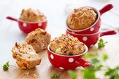 Ham, cheese and tomato muffins — Stock Photo