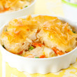 Chicken and vegetable pie - Stock Photo