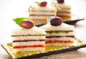 Tricolored sandwich stacks — Stock Photo