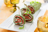 Spinach and Smoked Salmon Roll — Stock Photo