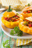 Stuffed pattypan squash — Stock Photo
