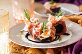 Figs with Prosciutto, Goat Cheese and Rosemary — Stock Photo