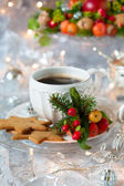 Coffee and Christmas cookies — Stock Photo