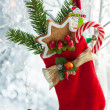Christmas stocking with gifts — Foto Stock
