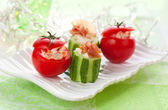 Stuffed cucumber and tomato — Stock Photo